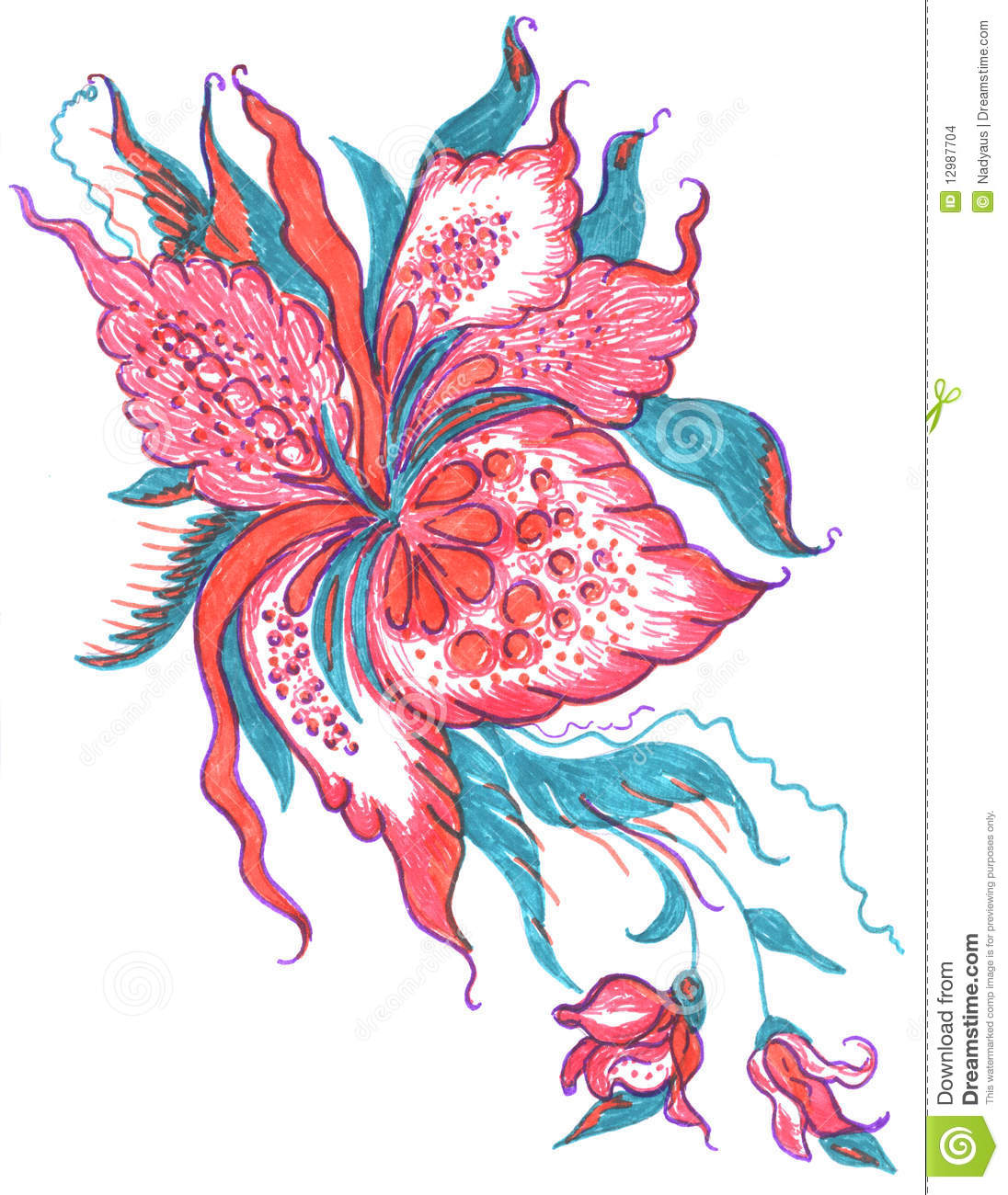 Pattern Flower Drawing With Colour Best 25 Flower Tattoo: Flowers Pattern Sketch Stock Images