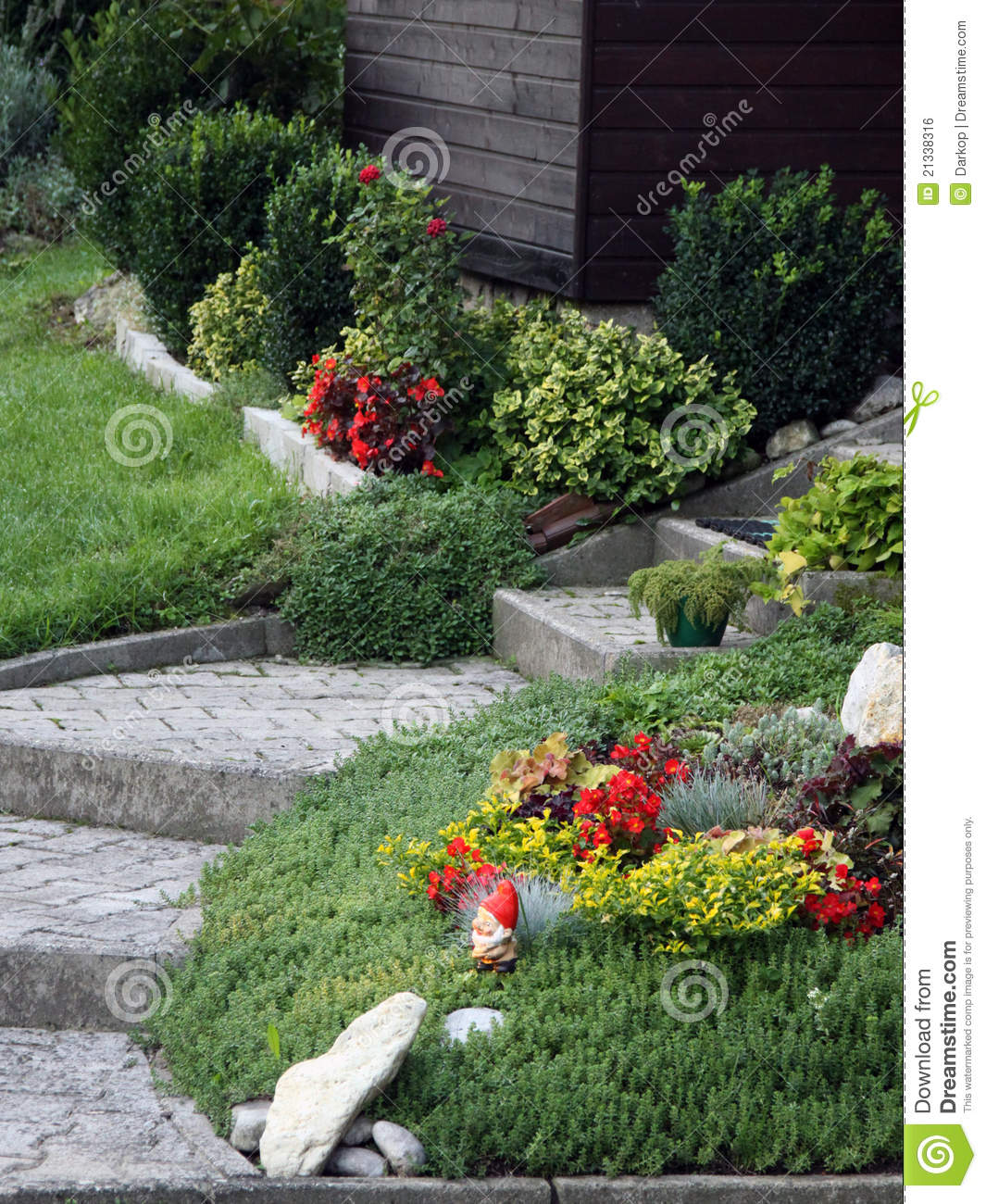Flowers And Perennial Plants Front Of The House Royalty