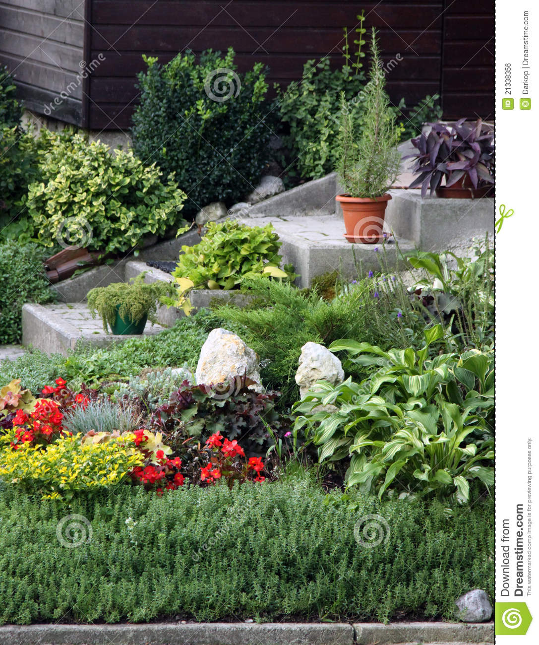 Flowers and perennial plants front of the house royalty - Como hacer un jardin pequeno ...
