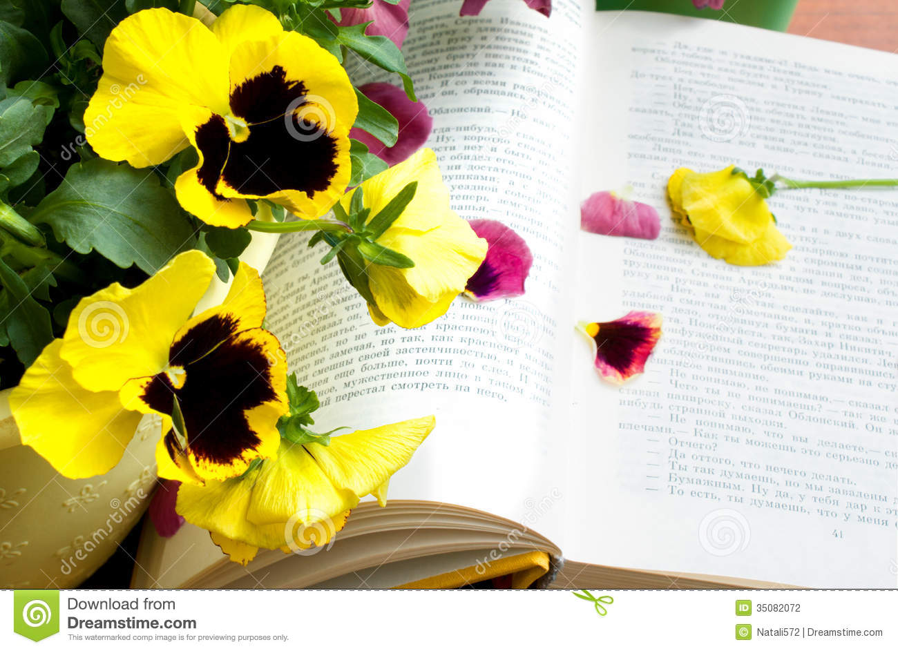 Flowers and petals on book stock photo. Image of depth ...