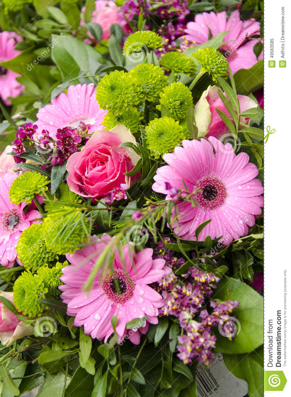 Flowers Pink And Green Bouquet Stock Image Image Of Arrangement