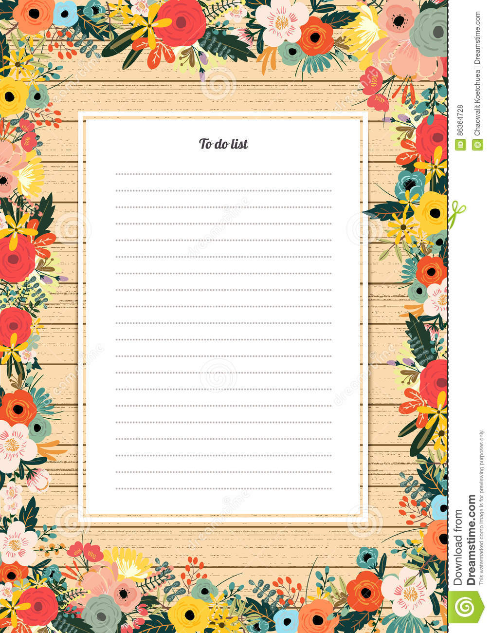 Flowers Poster Template To Do List With Blossoms Stock Vector
