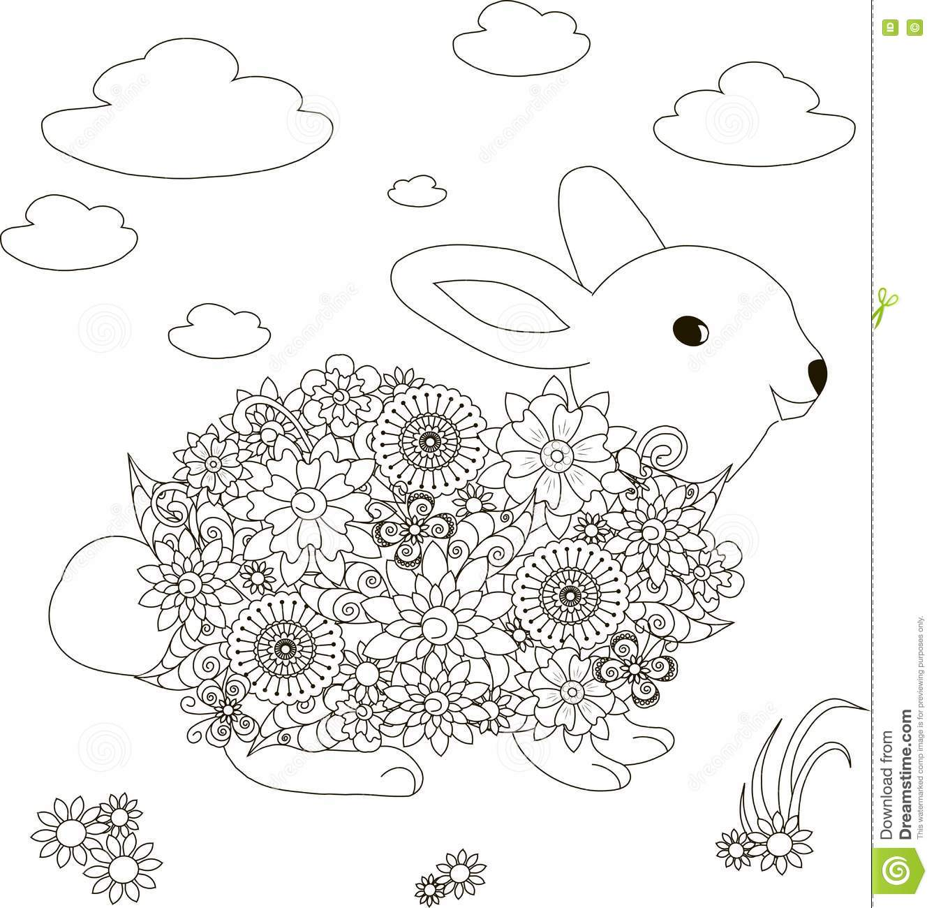 Flowers Rabbit Coloring Page Anti Stress Stock Vector
