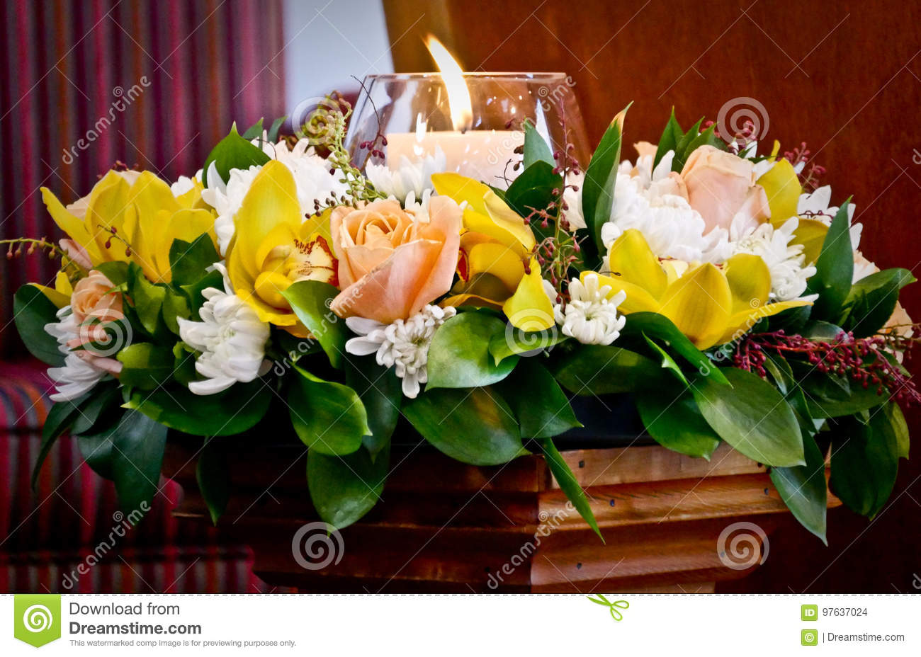 Flowers Ready For Funeral Service Stock Photo Image Of Service