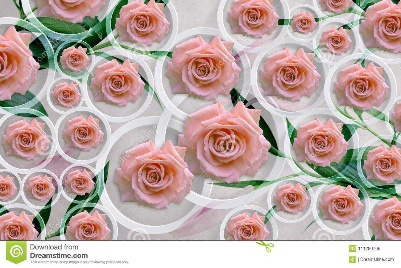 Flowers roses on white background in circles photo wallpaper for download flowers roses on white background in circles photo wallpaper for interior 3d rendering mightylinksfo
