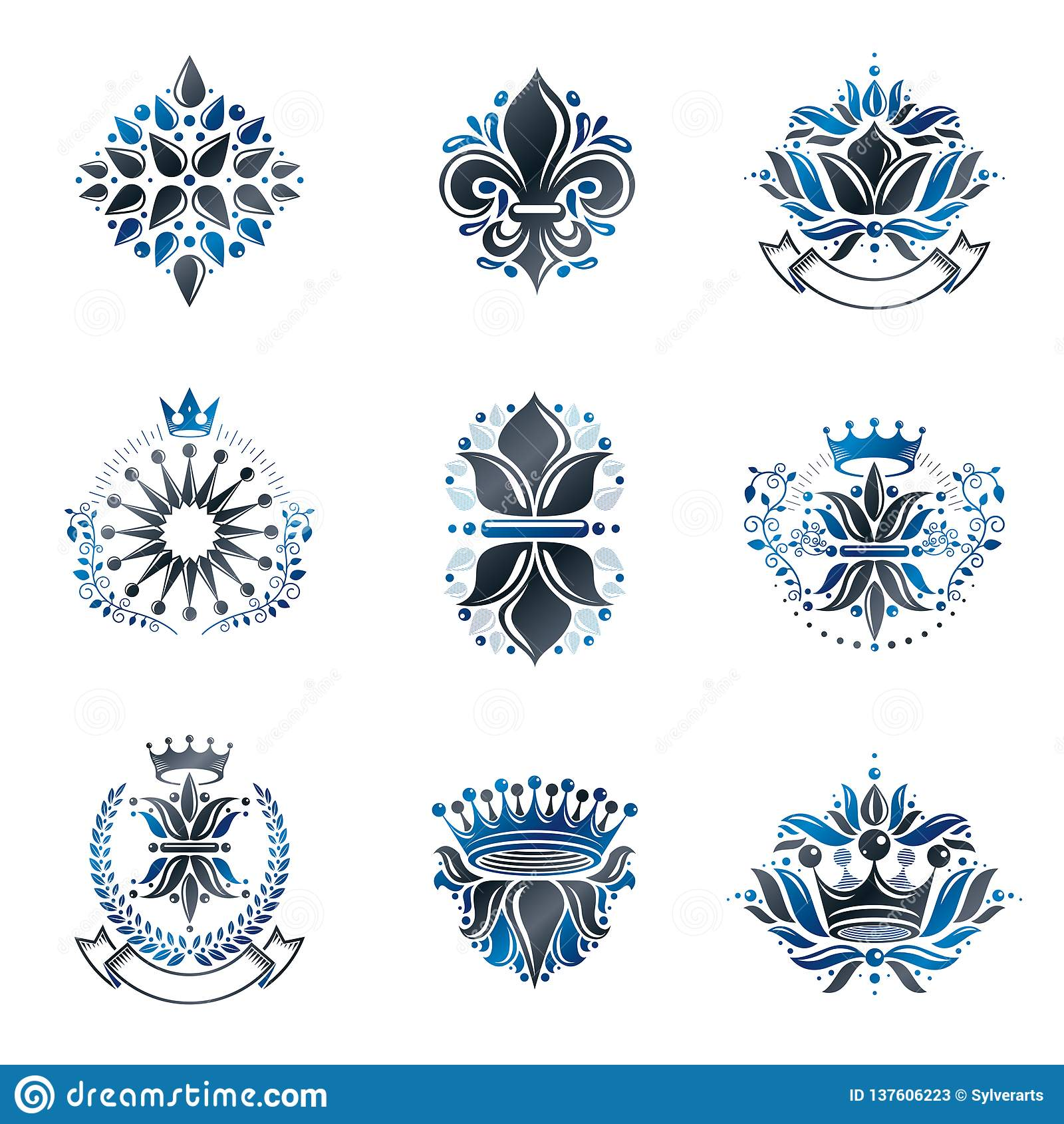 Flowers, Royal symbols, floral and crowns, emblems set. Heraldic Coat of Arms decorative logos isolated vector illustrations