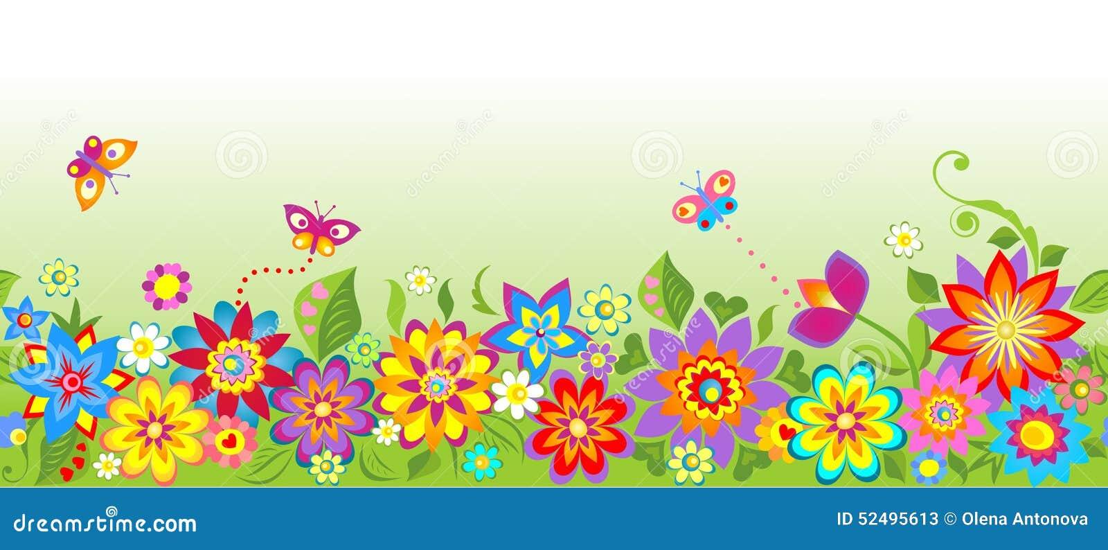 Flowers (seamless border) stock vector. Illustration of ...