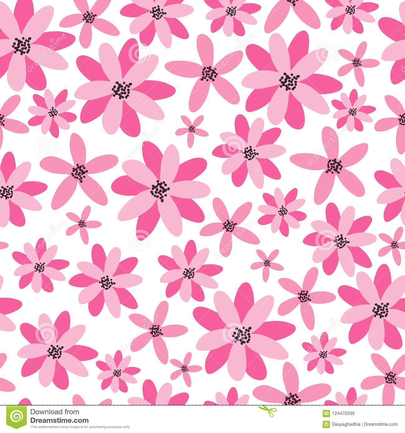 Flowers Seamless Pattern Tropical Floral Vector Background