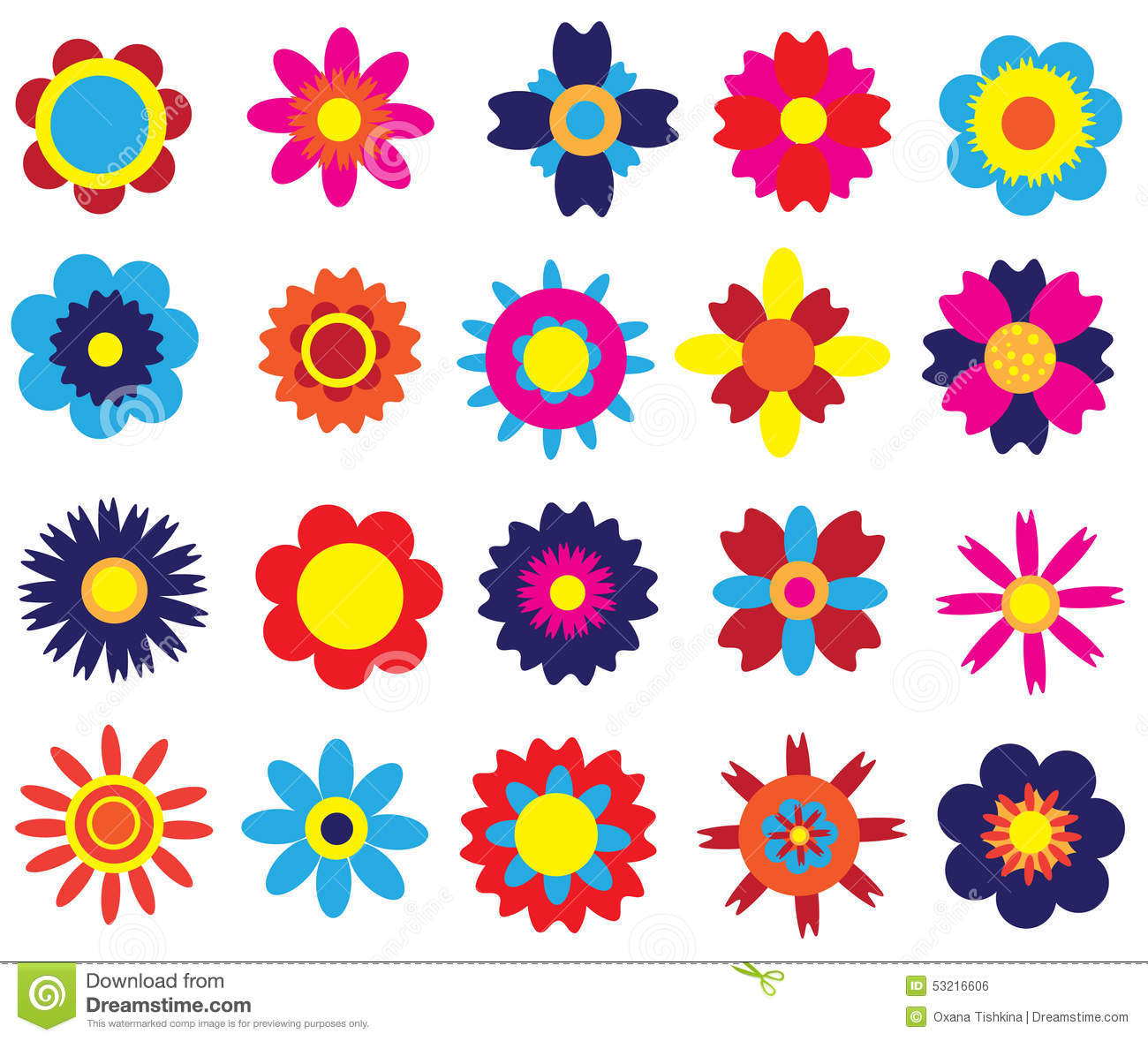 Flowers Set Stock Illustration