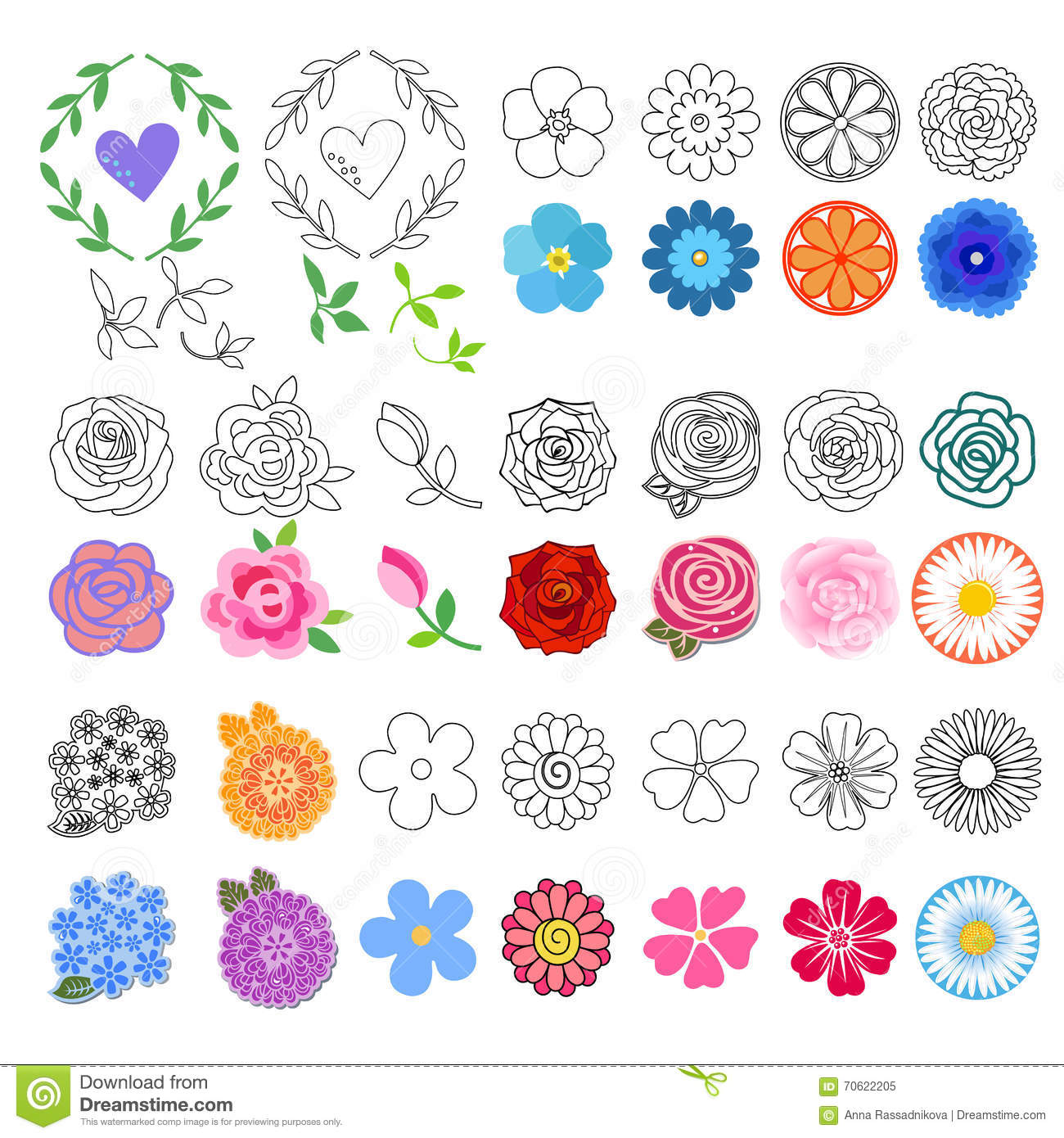 flowers set different styles drawn stock vector illustration of book pattern 70622205