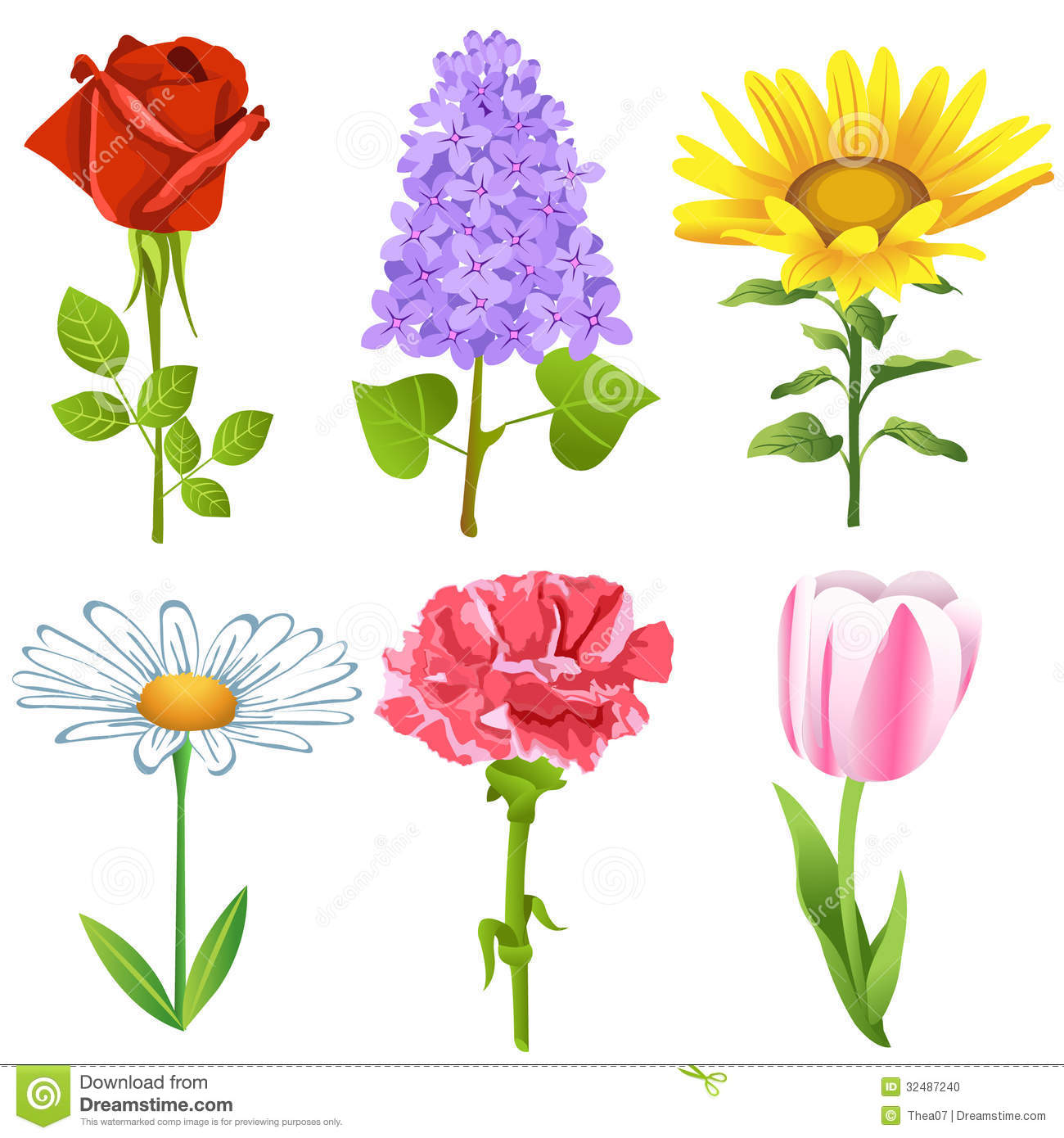 Flowers Set Stock Vector. Illustration Of Leaf, Garden