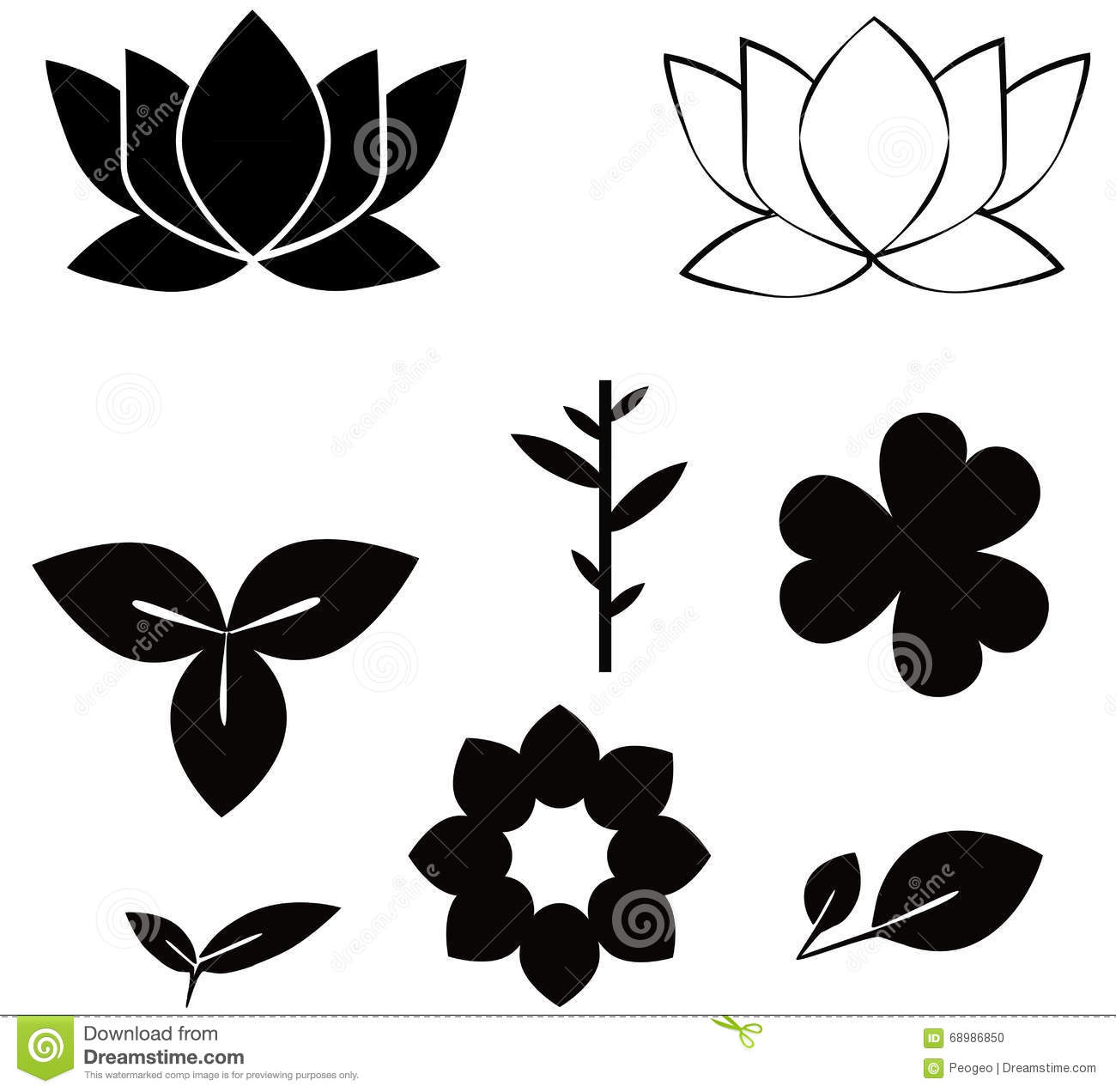 Flowers shape black silhouette set illustrations on w stock vector download comp mightylinksfo