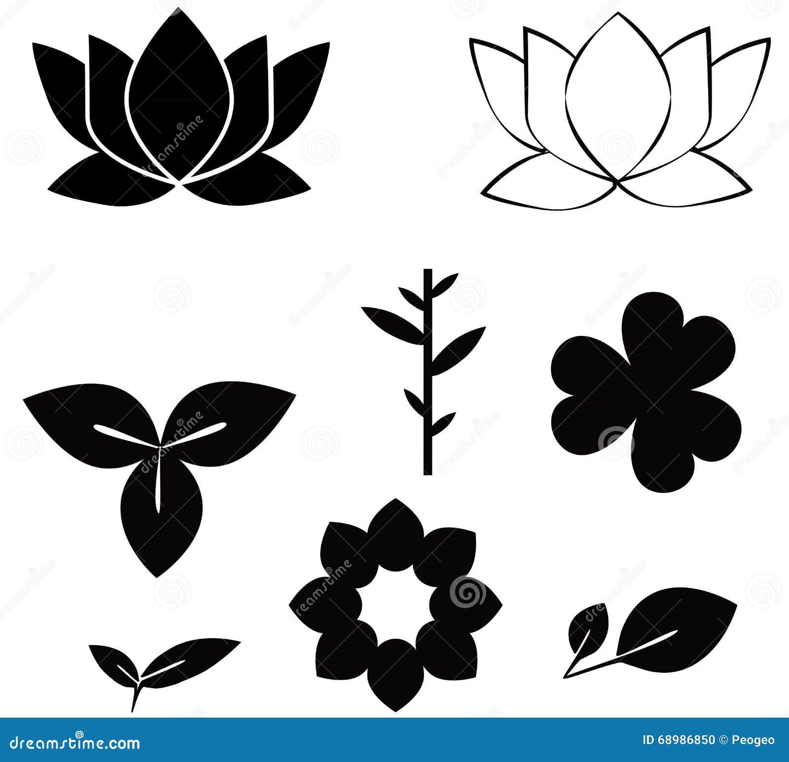Flowers shape black silhouette set illustrations on w stock vector flowers shape black silhouette set illustrations on w mightylinksfo