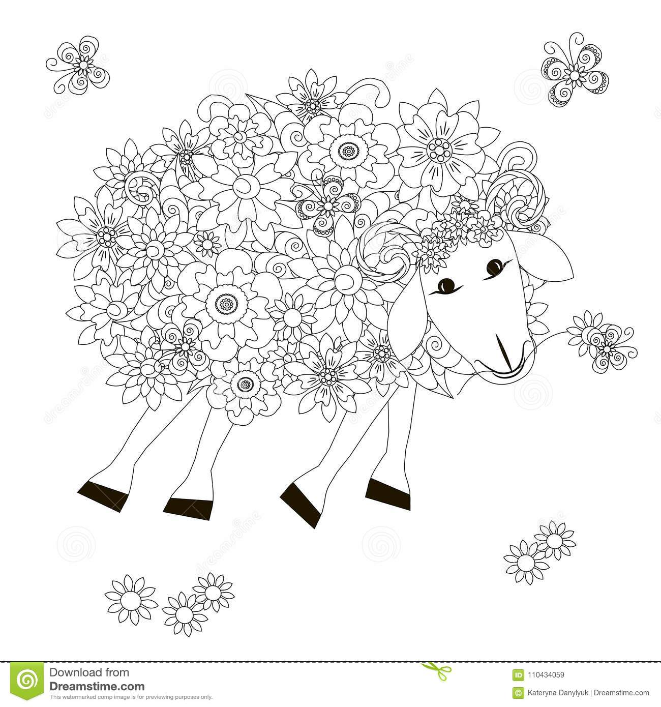 Flowers Sheep Monochrome Sketch, Coloring Page Anti-stress Stok ...