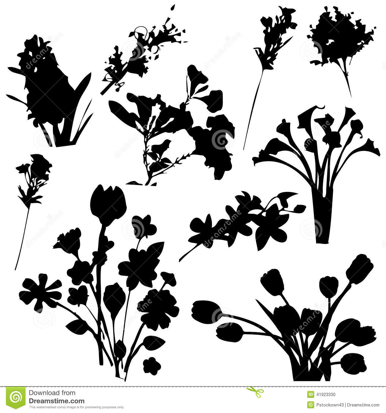 Flowers Silhouettes Stock Vector Image 41923330