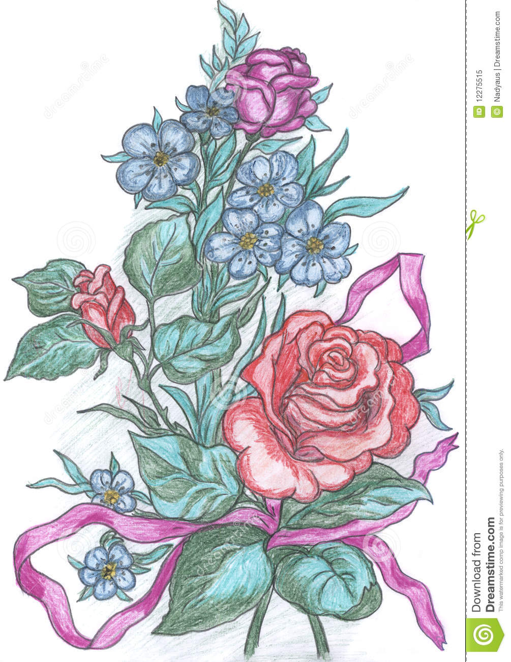 Flowers Sketch Drawing Of Greeting Card Stock Illustration - Illustration 12275515