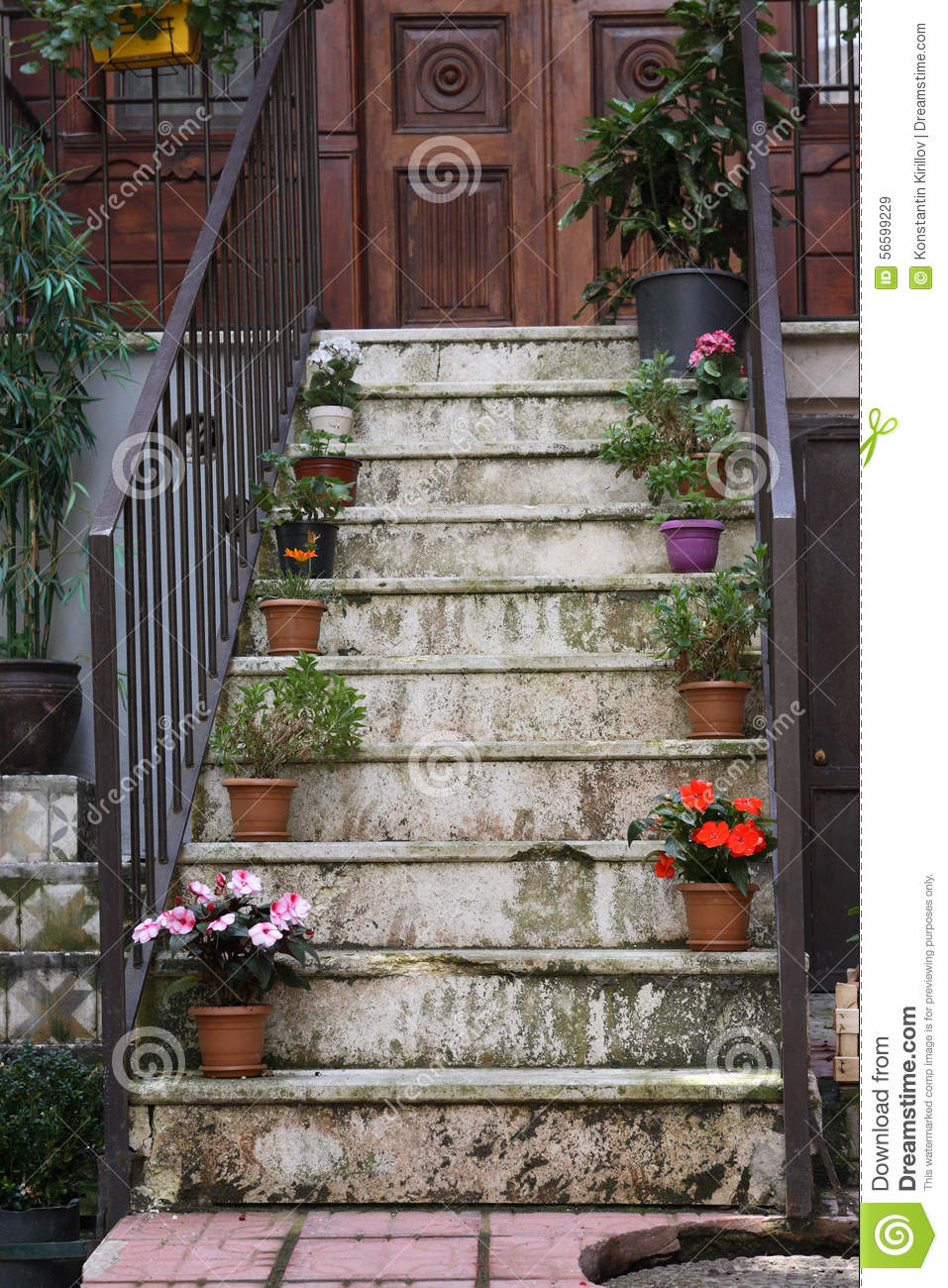 Flowers On Staircase editorial stock image Image of town 56599229