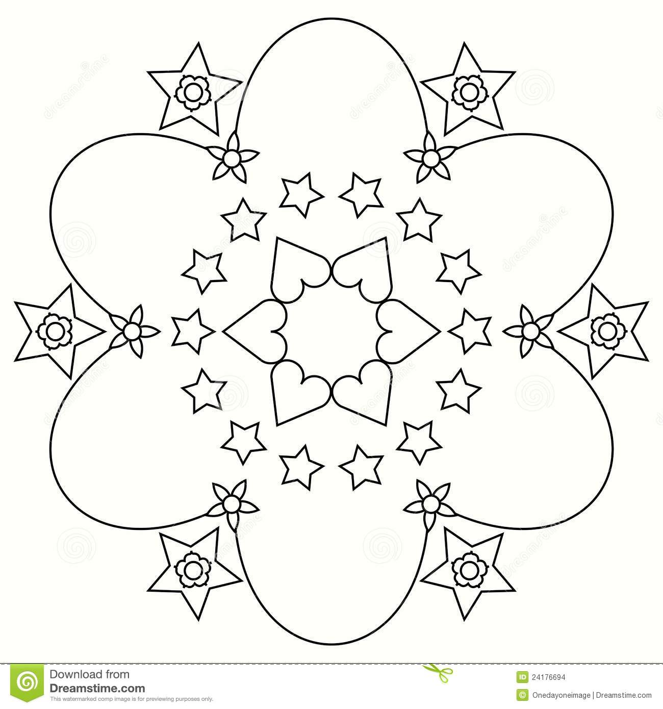Flowers And Stars Coloring Mandala Stock Illustration Illustration Of