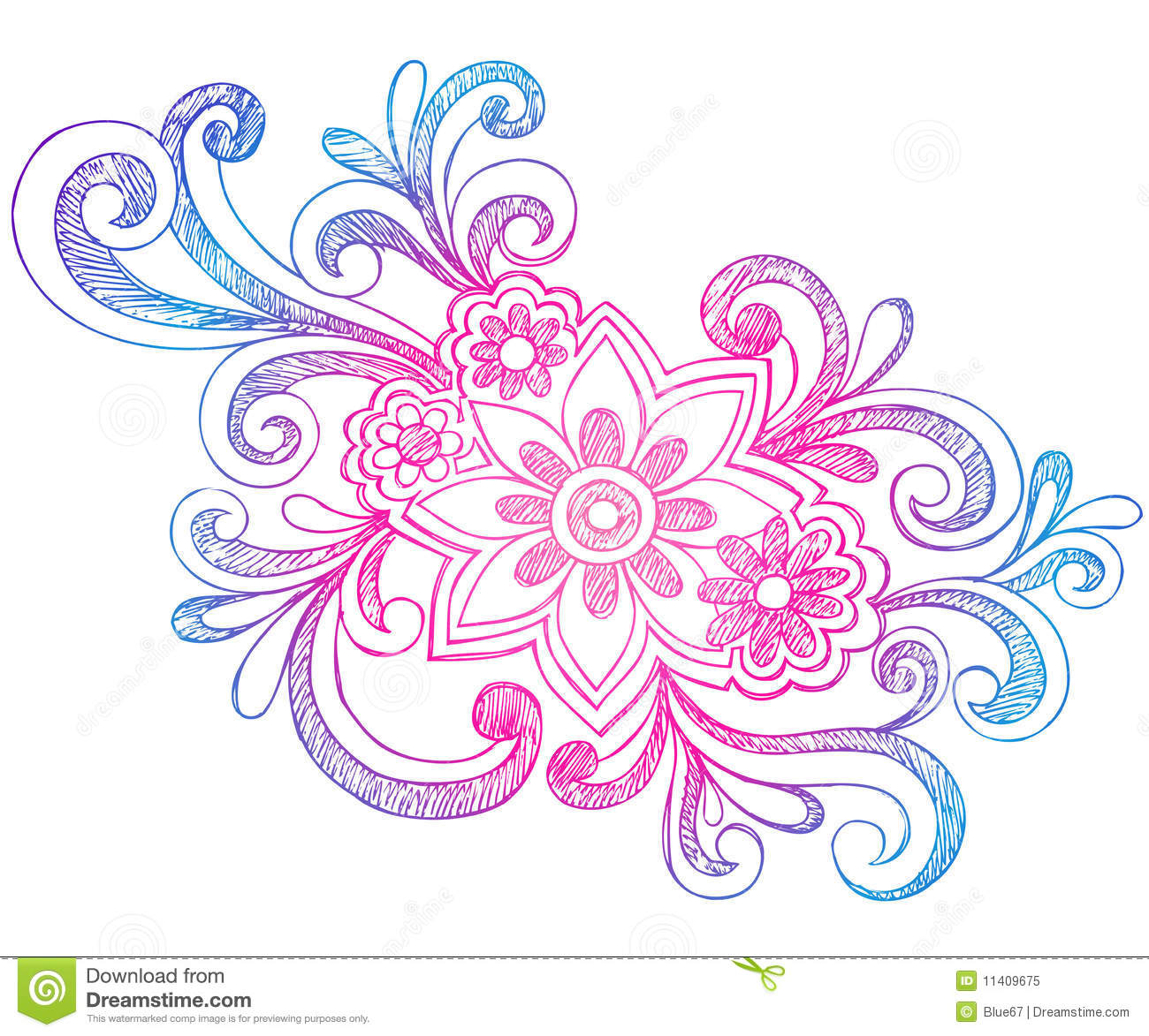 Flowers and swirls sketchy notebook doodles royalty free for Decoraciones para hojas