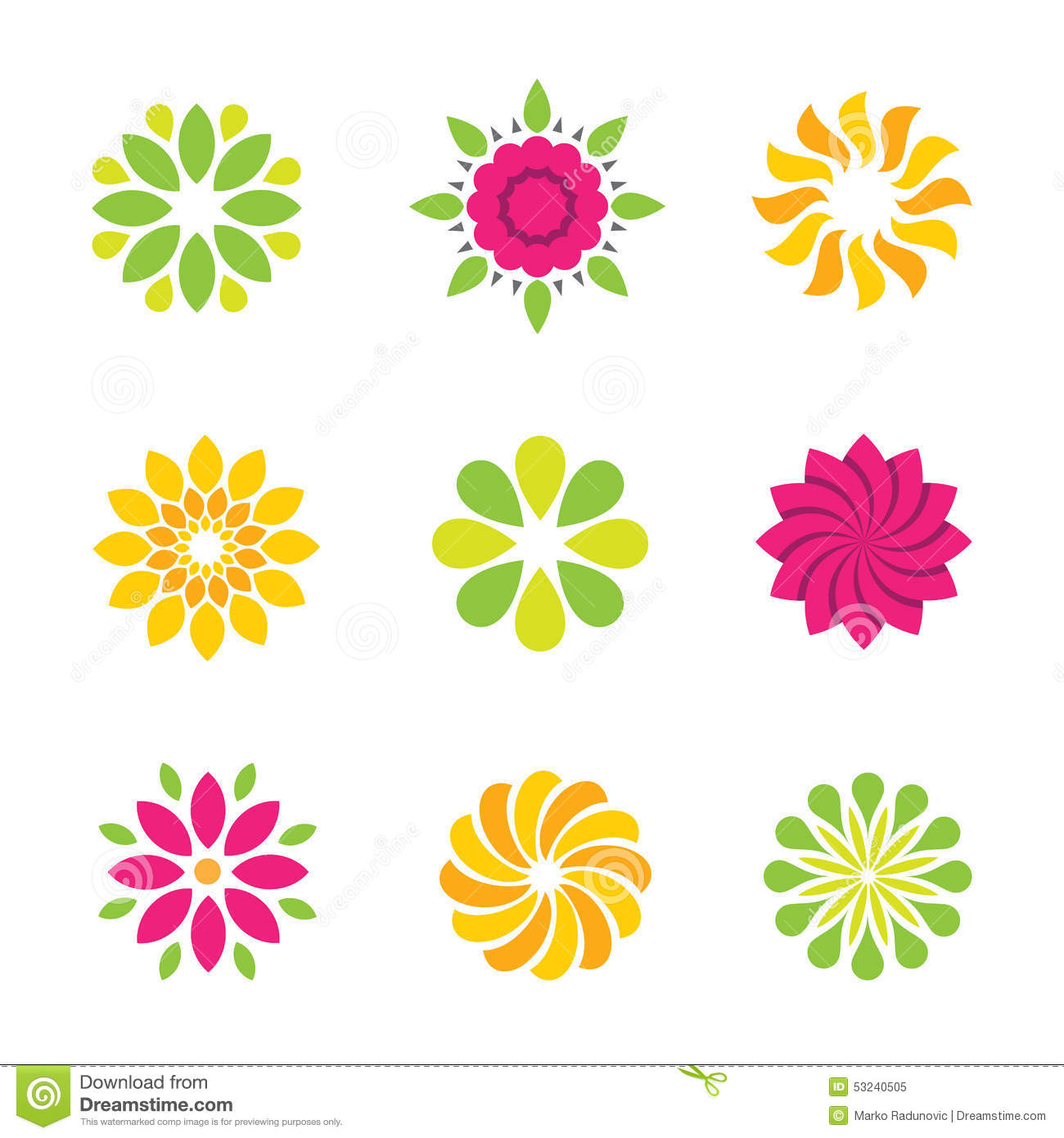 Flowers Symbol And Icons Stock Illustration Image