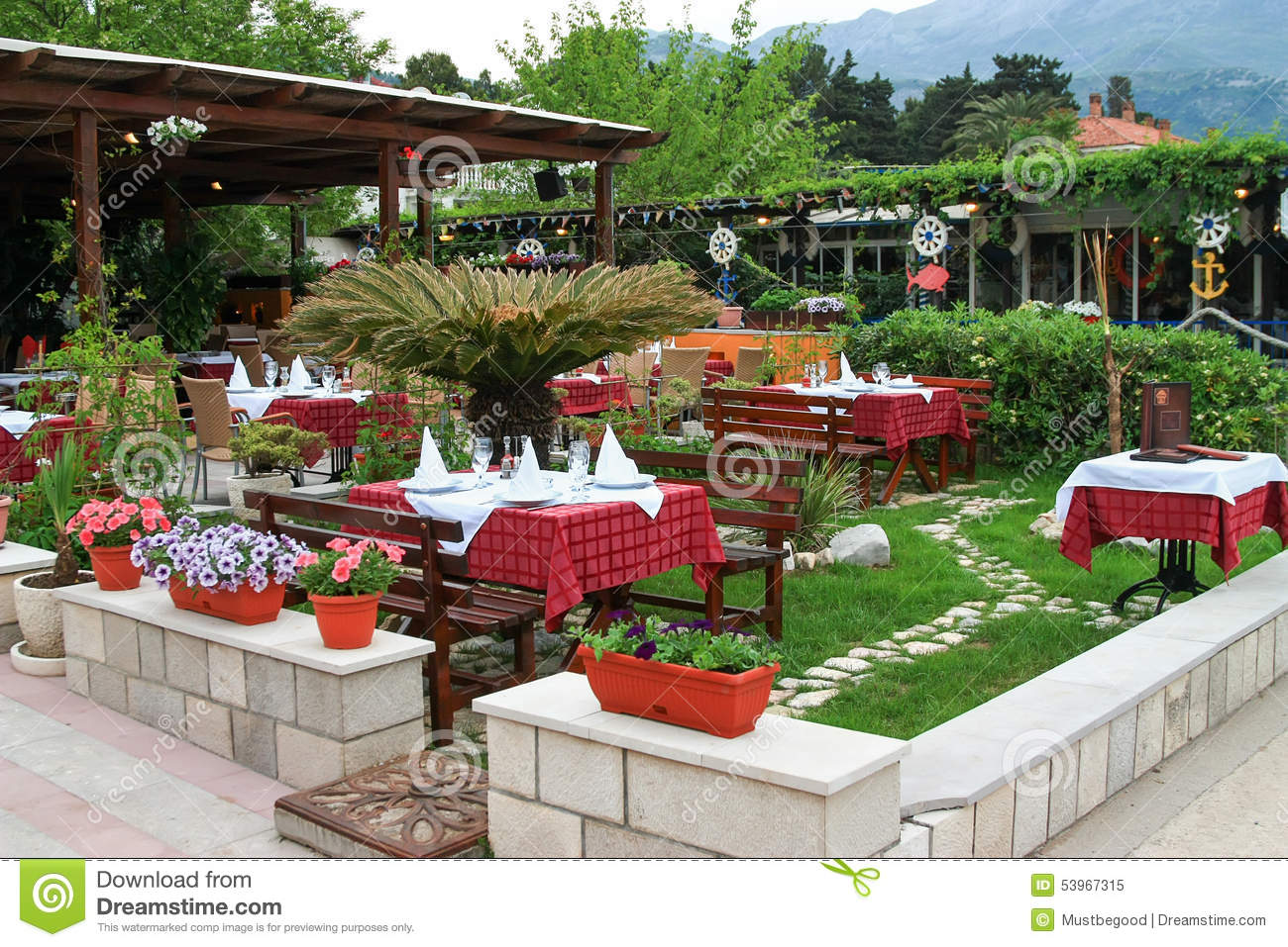 Flowers Tables And Chairs In Outdoor Restaurant Terrace Stock Image Image Of Green Outdoor 53967315