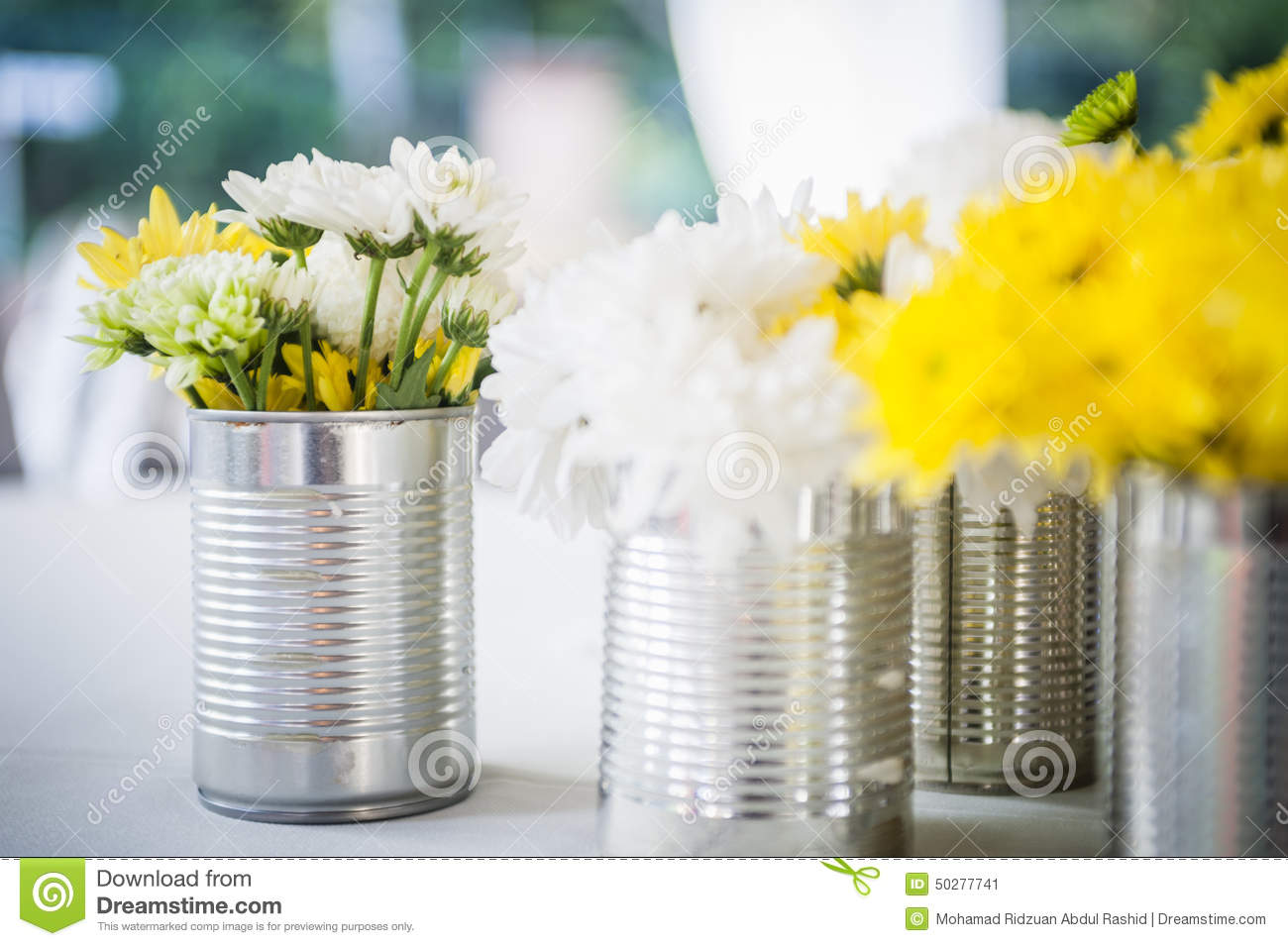 Flowers In Tin Can Stock Image Image Of Glass Still 50277741