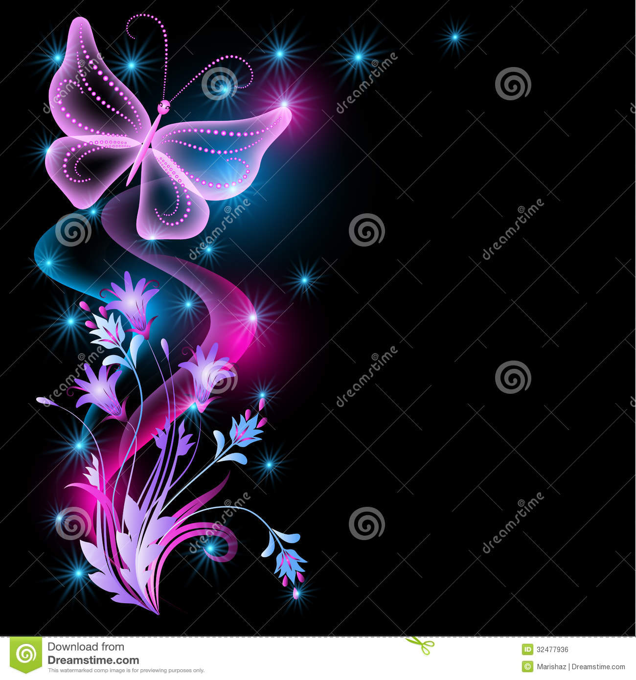 flowers and transparent butterfly royalty free stock image