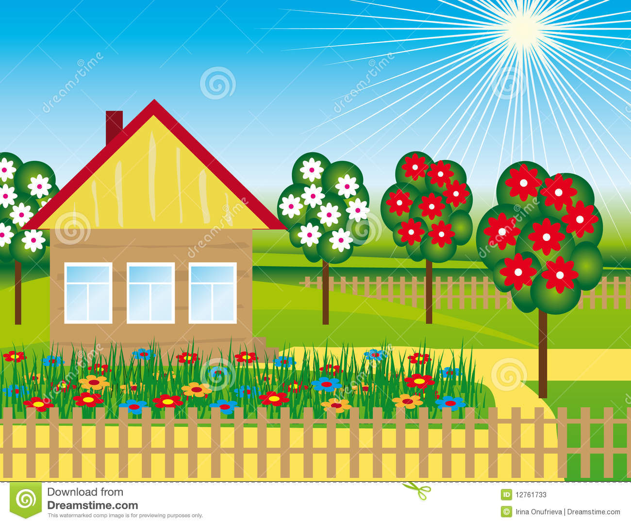Flowers and trees near the house stock vector image for Casita infantil jardin