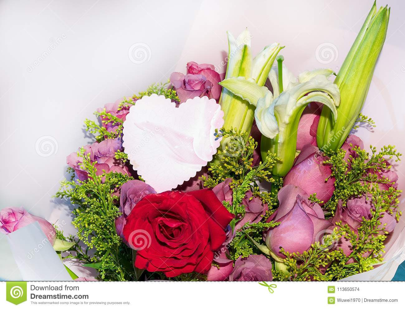 Bouquets with cards stock photo. Image of cards, relatives - 113650574