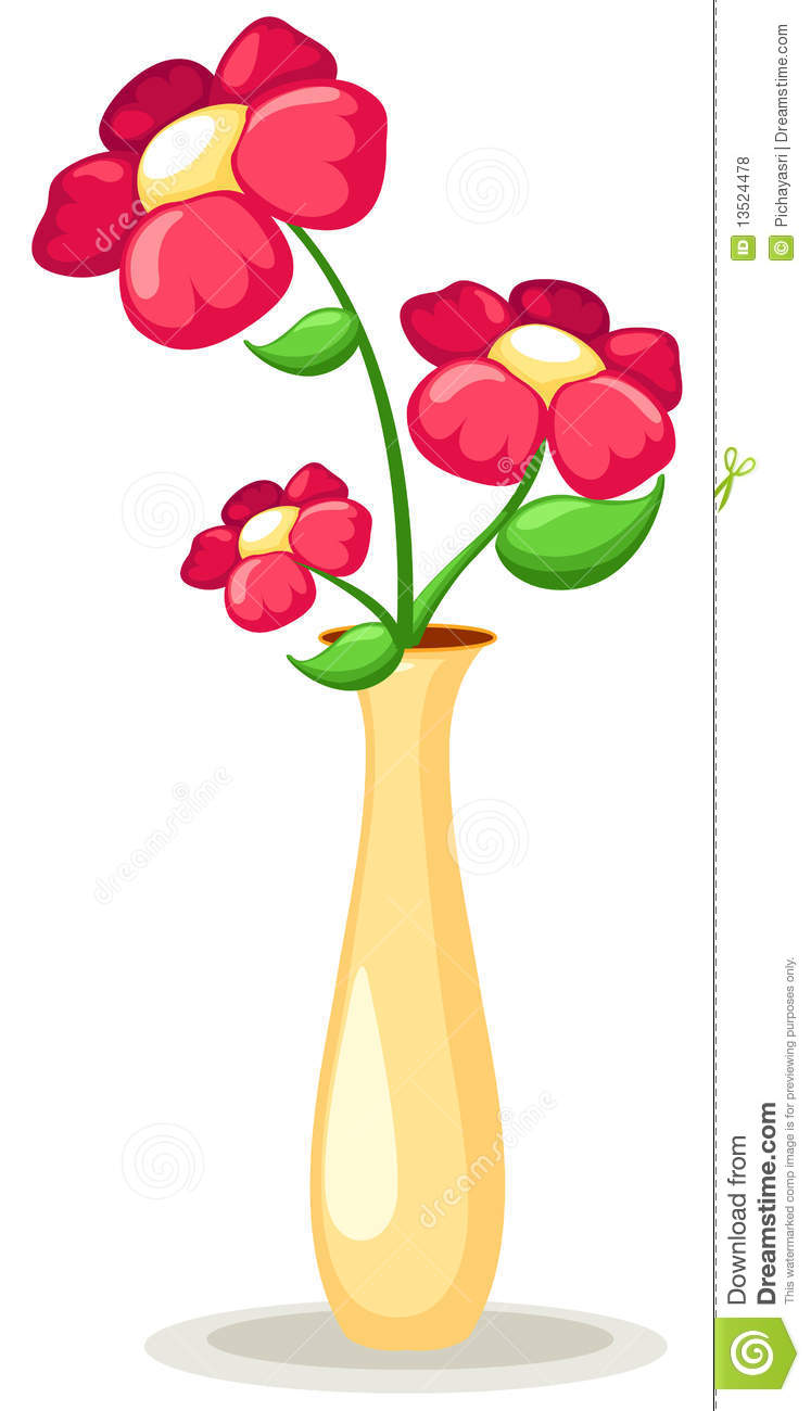 Illustration of isolated flowers in vase on white background.