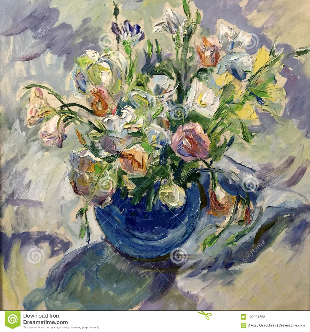 Flowers In A Vase Art Oil Stock Illustration Illustration
