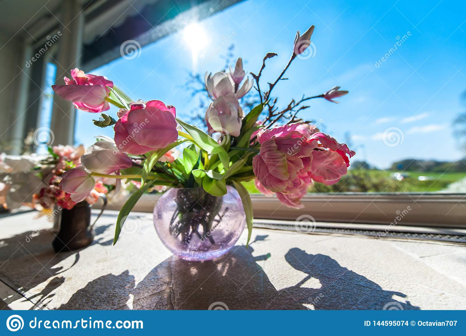 Flowers in a vase in front of window with blue sky