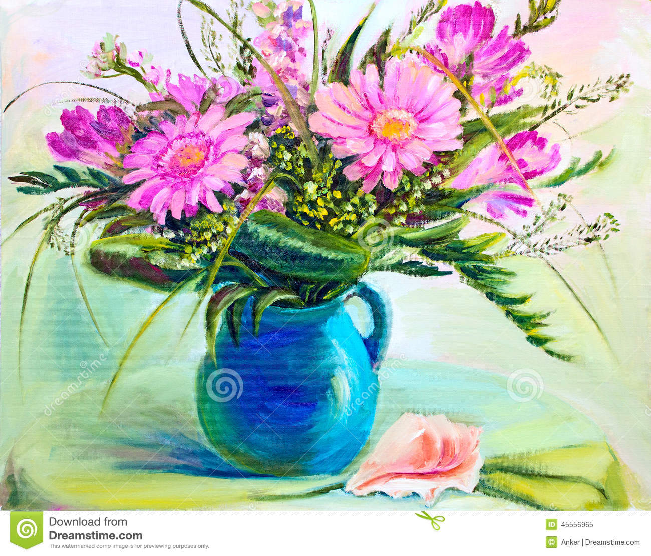 Flowers in vase oil painting stock illustration for How to paint flowers with oil paint
