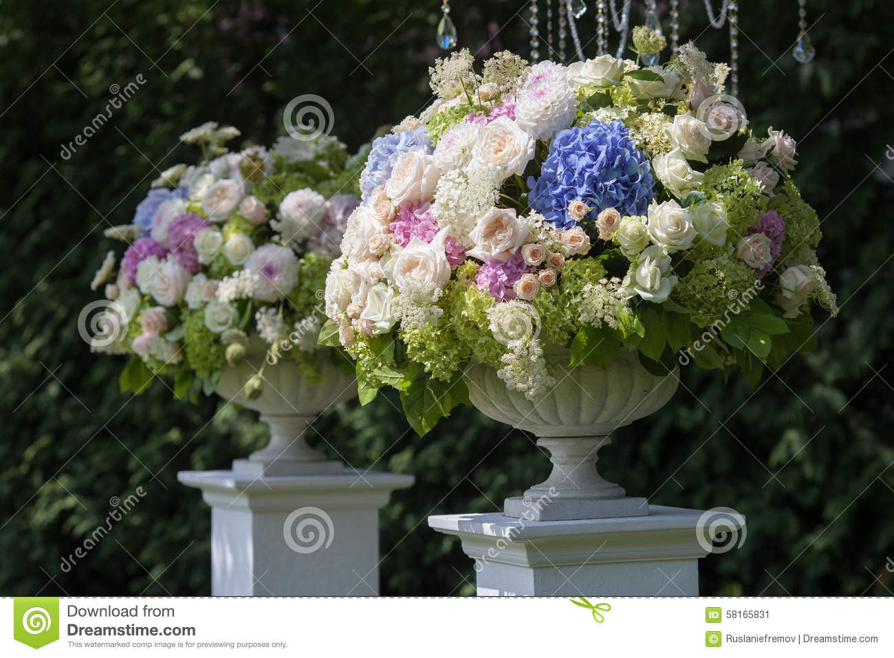 Flowers In A Vase For The Wedding Ceremony Outdoor. Stock