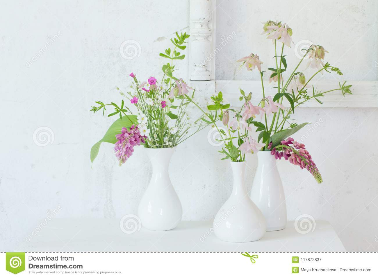 Dreamstime.com & Flowers In Vases On Background Old White Wall Stock Image - Image of ...