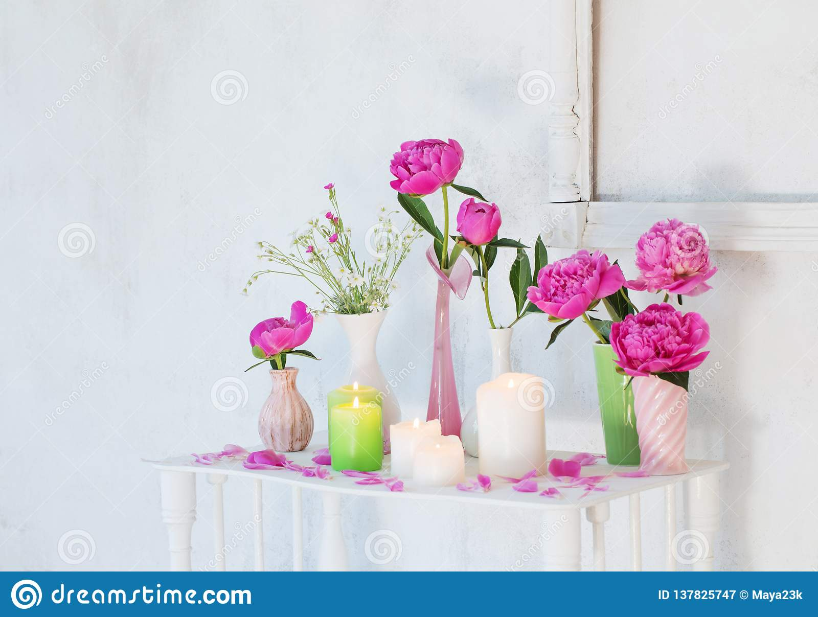 Flowers In Vases And Candles On White Background Stock Image Image Of Plant Peonies 137825747