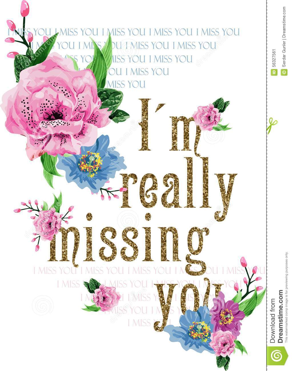 Flowers Vector Im Really Missing You Print Stock Vector