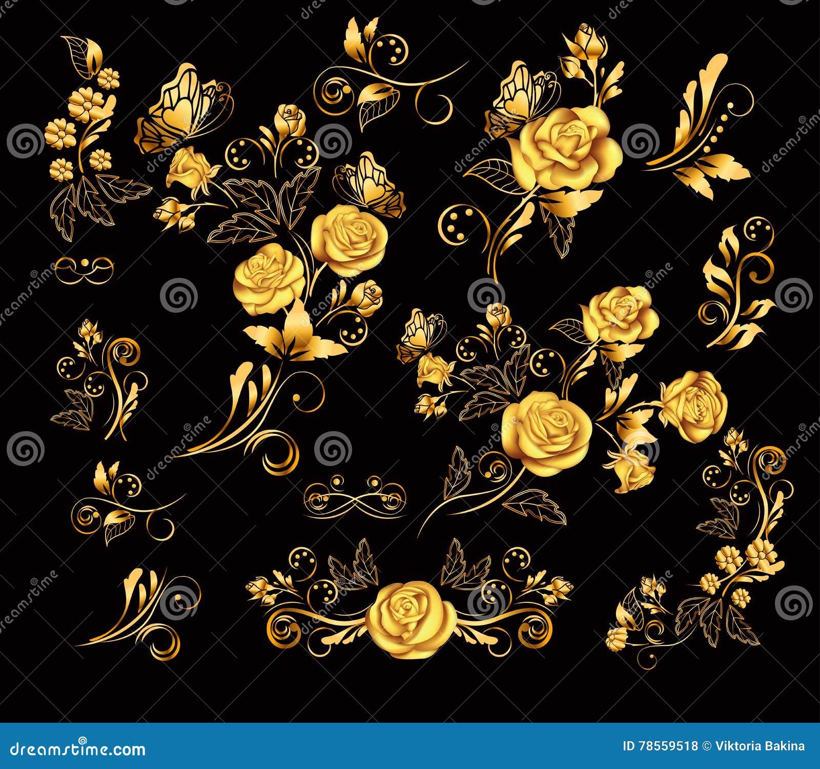 Flowers.Vector illustration with gold roses. Vintage decoration. Decorative, ornate, antique, luxury, floral elements