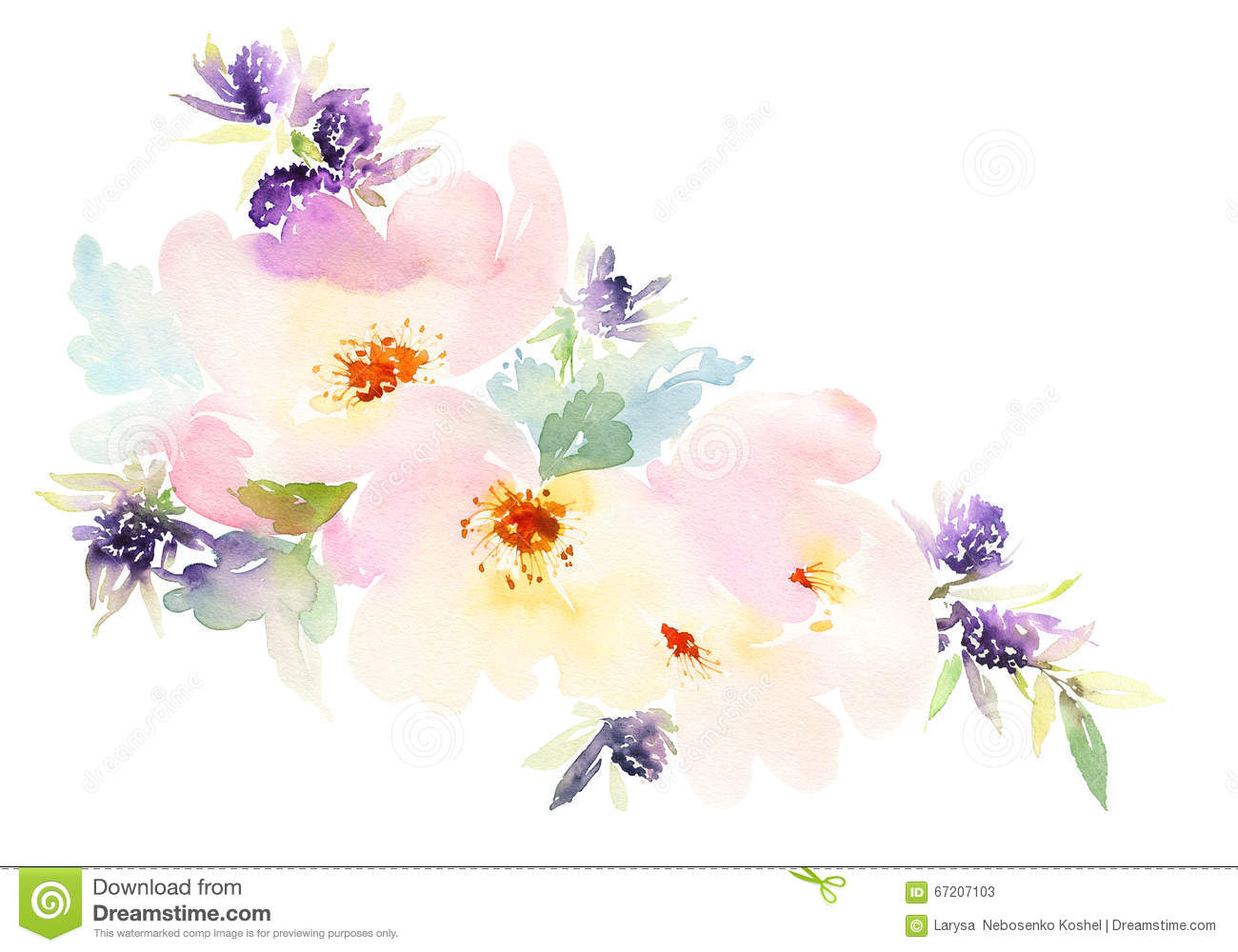 Flowers Watercolor Illustration Pastel Colors Stock Illustration Image 6
