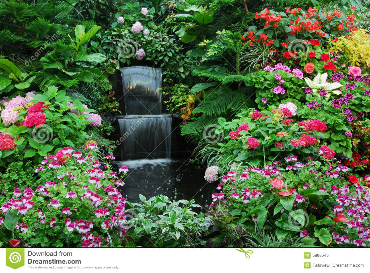 Flowers and waterfall garden stock image image of canada for Flowers and gardens pictures