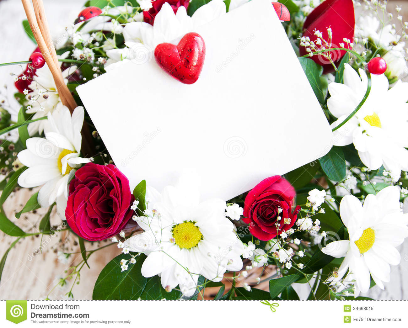 Flowers With A White Card Stock Image Image Of Valentines 34668015