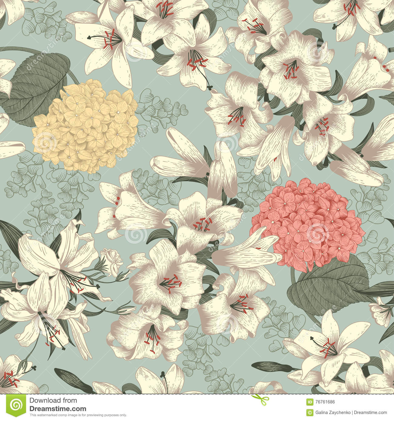Flowers White Lilies Vector Seamless Background Vintage Floral