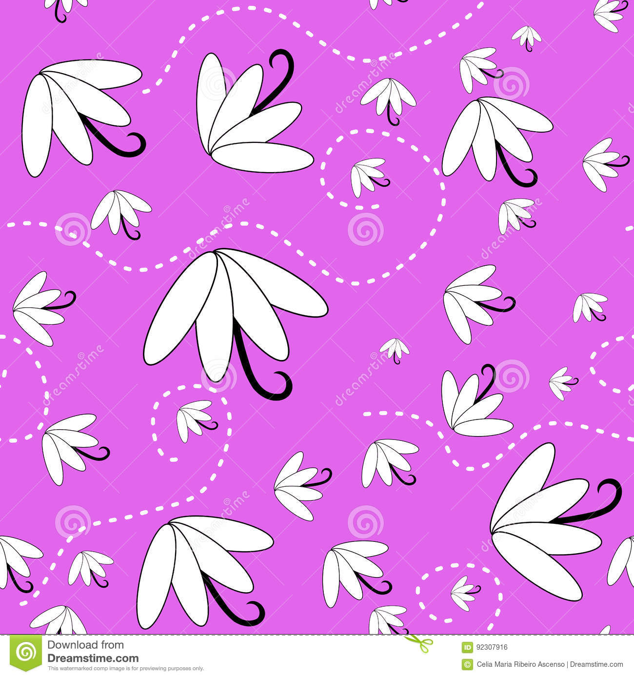 Flowers on the wind seamless background