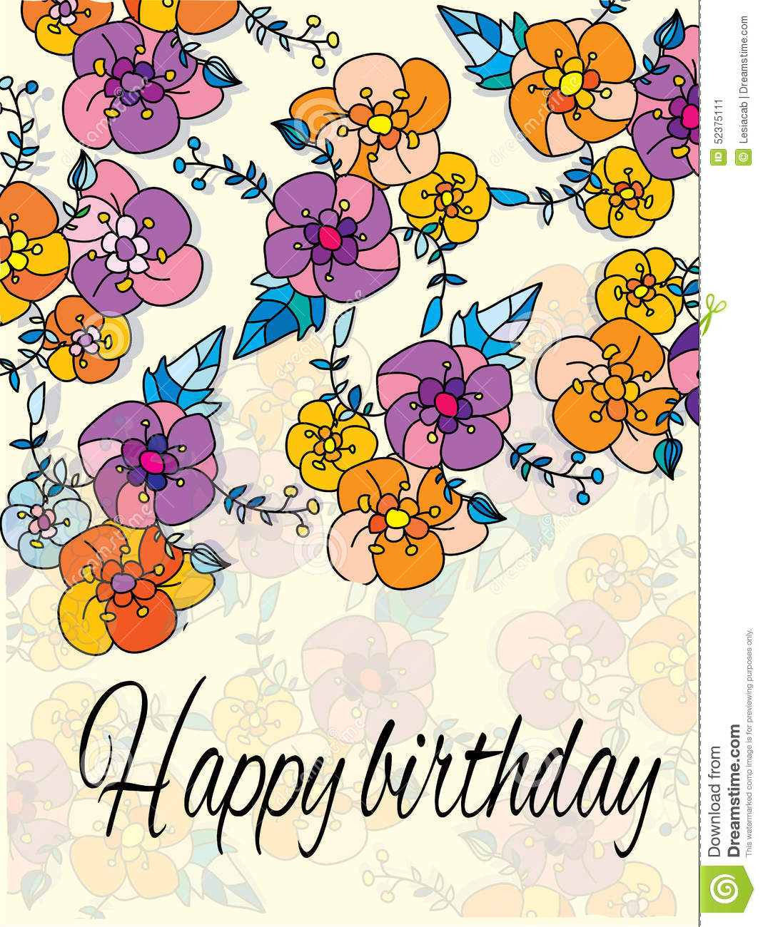 flowers and the words happy birthday stock vector  image, Beautiful flower