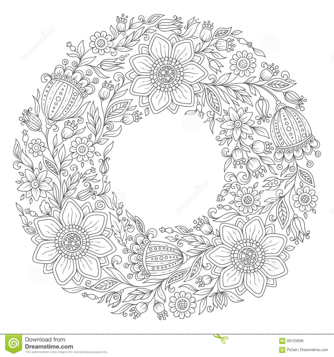 rose garland coloring pages - photo#24