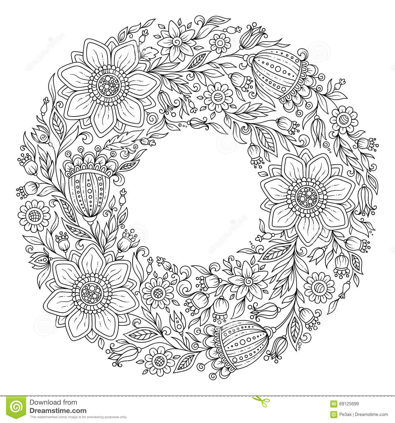 Flowers Wreath Coloring Book Page For Adult Stock Illustration