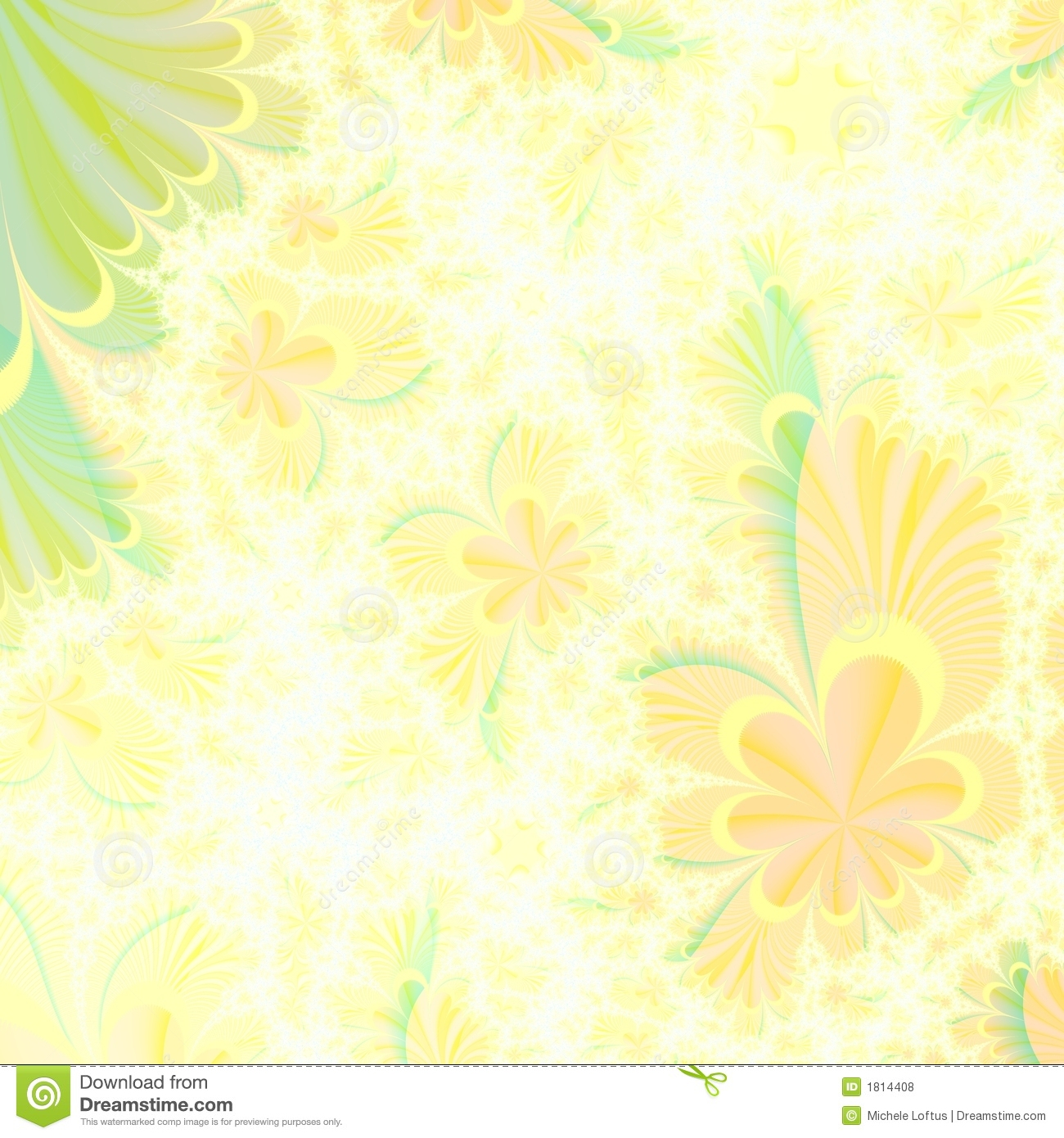 Flowery Yellow And Green Abstract Background Design Template Stock ...