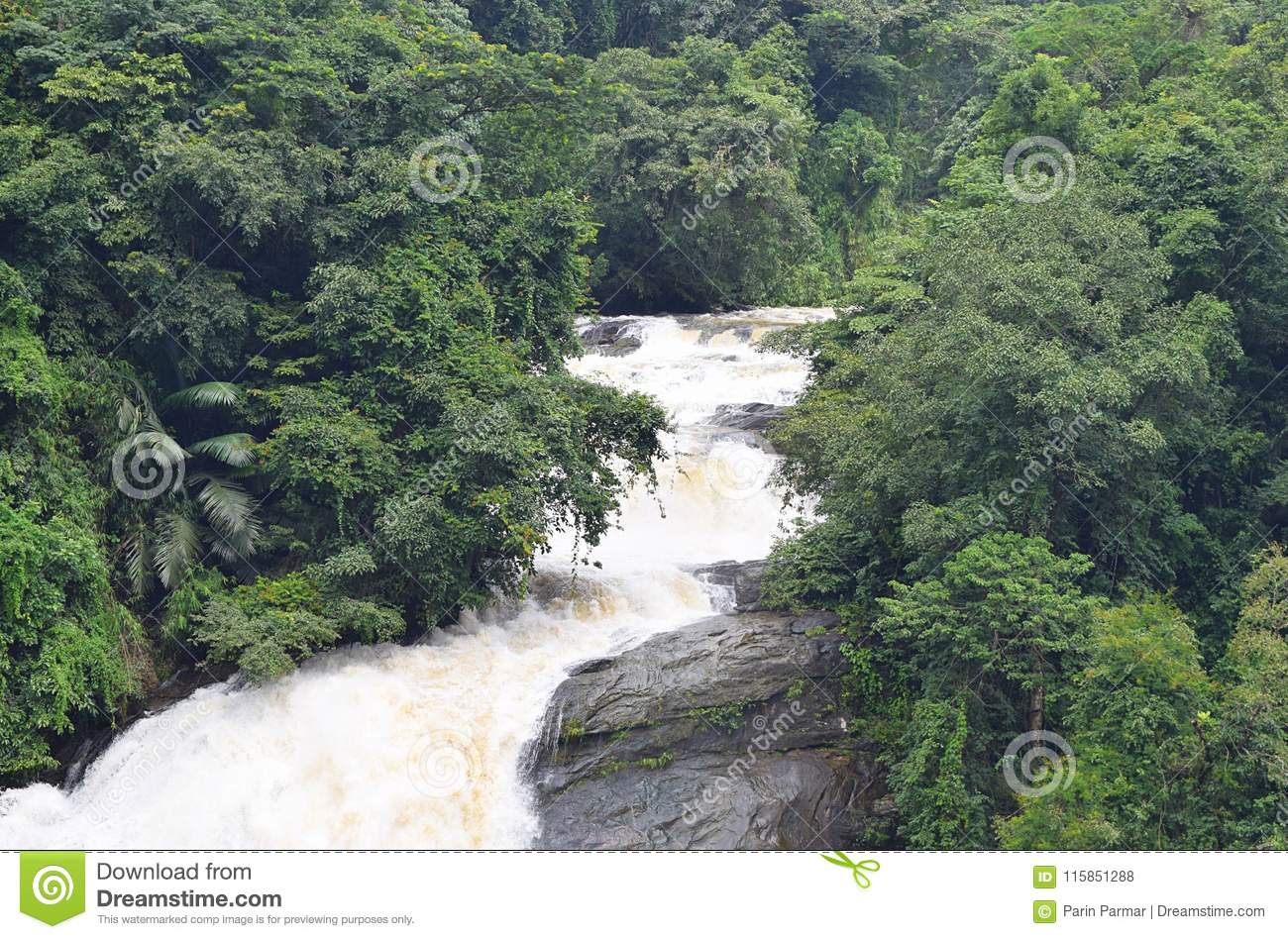 Flowing Milky White Water Valara Waterfalls In Thick Forest In