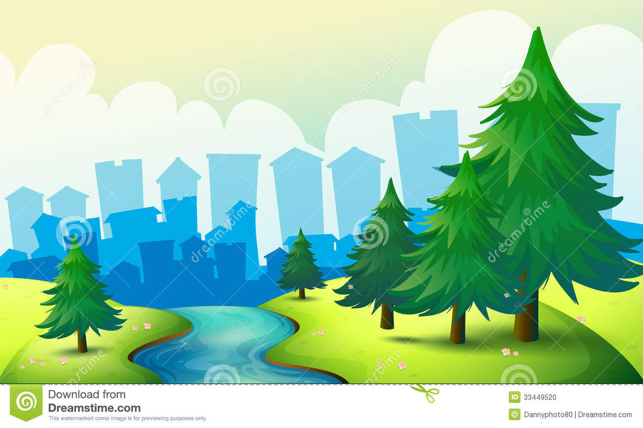 Triangular Floor Plan A Flowing River At The Hill With Pine Trees Stock Photo