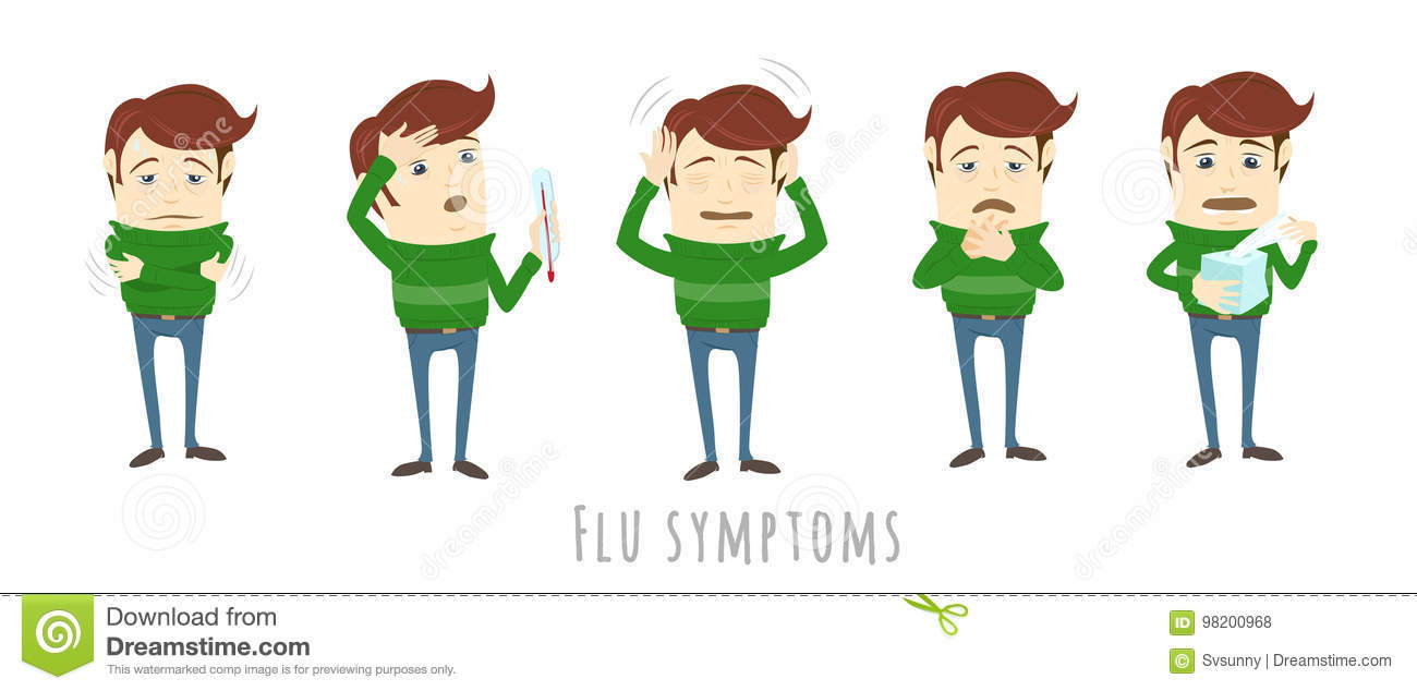 Flu Common Cold Symptoms Of Influenza  Man Suffers Cold